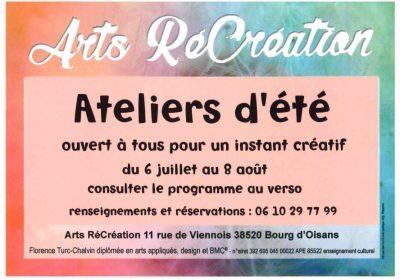 Arts RéCréation – Ateliers d'été